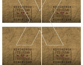 Primitive Blessings Sampler Grubby Prim Bag Toppers, print 4 to a sheet sheet, Dirty, Grungy, DIY Crafts, Blank Topper, U Print