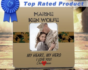Marine Girlfriend Marine Wife USMC Family Semper Fi USMC Wife  Marine GF Usmc Girlfriend  Usmc Wife Custom Marine Frame My Heart My Hero
