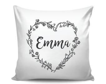 Personalized Baby Pillow, Custom Name Pillow with Heart Floral Wreath, Baby Name Decorative Pillow, Baby Shower Gift, Baby Girl Name Cushion