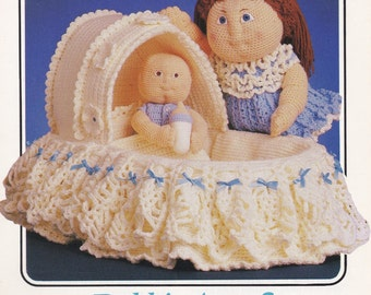 Debbie Ann & Bitty Baby's Bassinet, Annie's Attic Crochet Doll Clothes Pattern Booklet 87F70