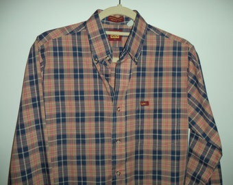 Lee thin plaid 80's button down// Vintage rustic western unisex hipster oxford shirt// Siz men's S & women's small medium