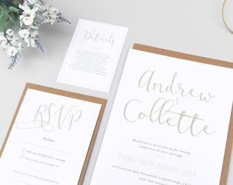 Rustic Wedding Invitation Set, Invite, RSVP, Save the Date, Menu - Wedding Stationery - Wedding Invitation Suite - Calligraphy