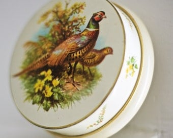 SALE! Vintage Quail Tin | Round Vintage Tin | Made in England