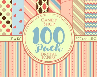 Digital Paper 100 Pack - Candy Shop - Commercial Use