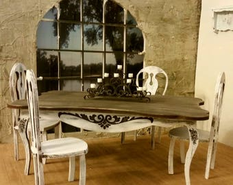 Miniature dollhouse French Provencal dining room table and set of 4 chairs Chalky White and Walnut finish 1:12 scale