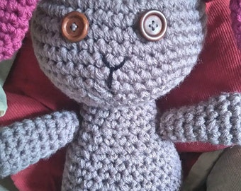 Hand crocheted Large button eyed bunny