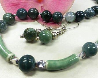 Green agate set in a wonderful mix
