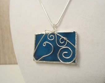 Blue Stained Glass Horse Pendant with Argentium Silver