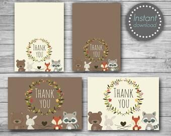 Woodland Thank you cards printable, Woodland thank you tags printable, Woodland Baby shower thank you cards, Birthday thank you cards