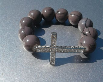 Women's Gray Cross bracelet