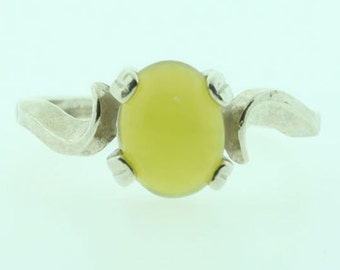Healerite Silver Ring, Lime Green Healerite Oval Cabochon in Sterling Silver