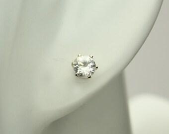 White Zircon Earrings, Natural Zircon Gemstones in 14KT White Gold Earrings, Screw on Posts, Stud Earrings, Round Faceted Clear Zircons