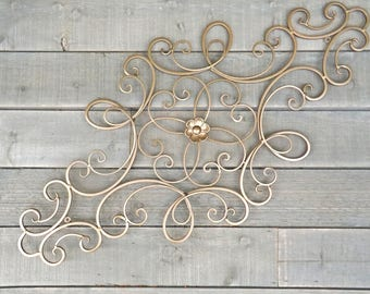Flower Wrought Iron Wall Decor,Wrought Iron,Bronze Wall Decor,Choice Color, Scrolled Metal Wall Decor