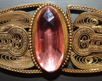 """Stunning Antique Brass Filigree Buckle ~ Hand Worked Art Deco Brass Filigree ~ Peachy Pink Facet Glass Jewel ~ Marked """"CHECHOSLOVAKIA"""""""