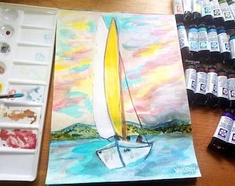Sailing The Coastline Ocean Nautical Sea Sailboat Daniel Smith Watercolor Painting Art By Scott D Van Osdol Ready To Frame 9x12 Colorful