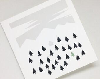 Scandinavian style minimalist christmas card - Christmas card, xmas greetings card, Blank, Minimalist card, Nordic design, Bold, scandi