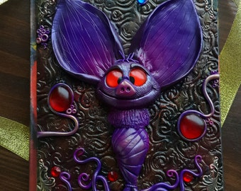 Polymer Clay Journal Cute Magic Bat. Handmade Notebook A5 Journal