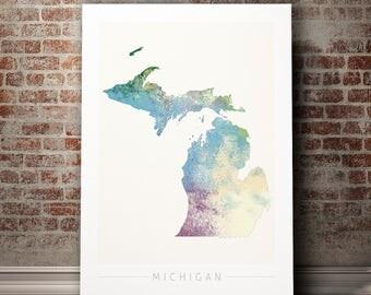 Michigan Map - State Map of Michigan - Art Print Watercolor Illustration Wall Art Home Decor Gift Embossed PRINT