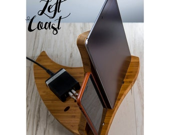 Charging Station Dock iPhone iPad Stand Android Gift for Her Men Women Wedding Bride Groom Boyfriend Integrated USB Charger