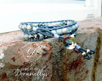 Bracelet, boho,  leather wrap, faceted gemstones,  moss marble, gray, white, Swarouski Crystal drop, Sterling silver,  boho style,
