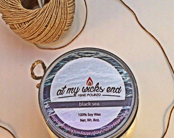 Black Sea Soy Candle//8oz. Mason Jar Candle//Essential Oils//Scented Candle