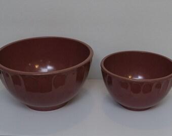 Pair of Vintage Boonton Raspberry Melmac Mixing Bowls