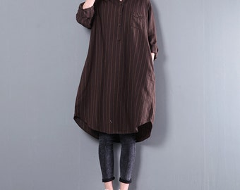Spring long shirt dress women casual stripes blouse cotton shirt