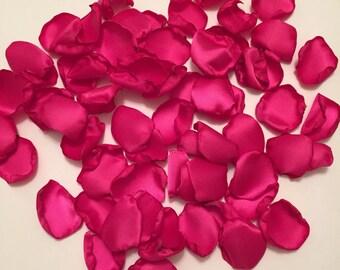 Fuchsia Satin Rose Petals/Flower Girl Petals/Pink Rose Petals/Aisle Rose Petals/Scatter Petals/Fuchsia Wedding Rose Petals/Pink Petals