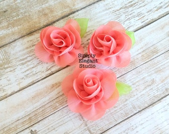 Coral- Sets of 3 Chiffon Flowers with Leaf, Headband Flowers, DIY Craft Flower Supply, Wholesale Flowers