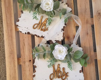 Wedding Reception Signs, Mr. And Mrs. Signs, Rustic Wedding Reception Signs, Reception Chair Signs