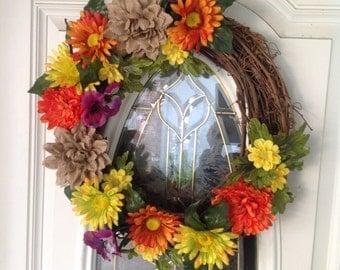Burlap Sunshine Wreath, Grapevine Floral Wreath, Summer Floral Wreath, Colorful Floral Wreath
