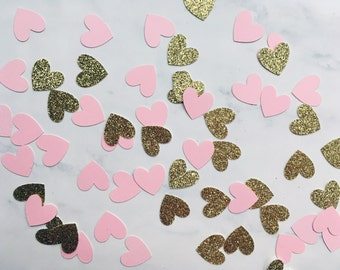 """Blush and Gold 3/4"""" Heart Party Confetti"""