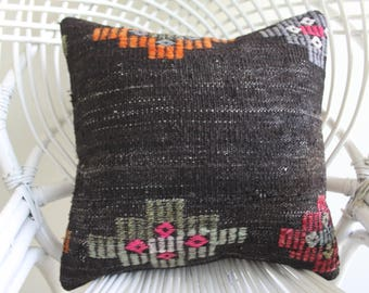 16x16 black  pillow turkish Kilim Pillow ethnic pillow  goat hair kilim pillow boho pillow throw pillow square size pillow 1997