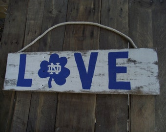 Notre Dame rustic sign | Fighting Irish wood sign | Notre Dame football sign | Notre Dame wall decor | Notre Dame Man Cave sign