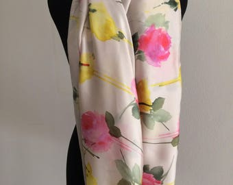 The Pink and Yellow Roses Silk Scarf