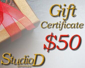 Gift certificate, Christmas gift, Birthday gift card, Secret Santa, Last minute gift, Gifts Under 50, Handmade jewelry, Gift for her, GC50