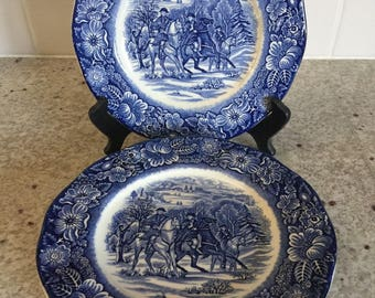 """Liberty Blue LUNCHEON PLATES 8 7/8"""" Washington At Valley Forge (Set of 6)"""