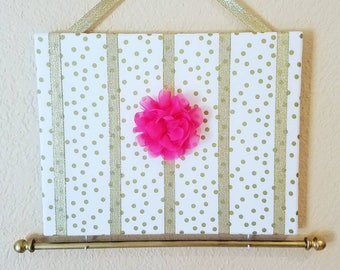 Gold Dots Hair Bow Holder & Headband Organizer /Padded Hair Bow Organizer with Hooks for Headbands/Head Band organizer/Gold nursery