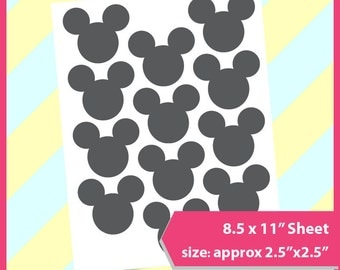 """Instant Download, Mickey Mouse Template, Mouse tag, PSD, PNG and SVG Formats,  8.5x11"""" sheet,  Printable 089"""