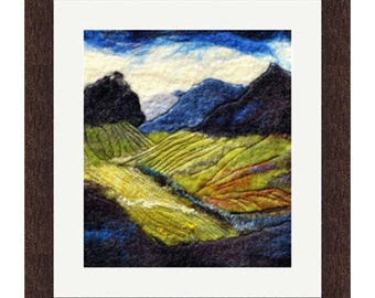 Felted wool painting landscape with mountains Scottish fiber textile art colourful blue green home decor