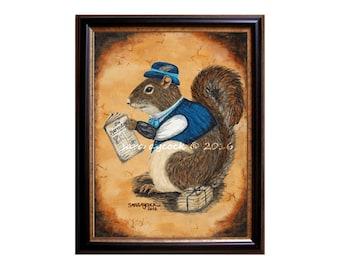 Victorian Gentleman Squirrel Print
