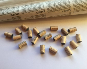 Tube Paper Beads - Newspaper Print