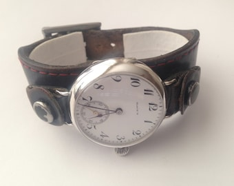 Military Trench Watch 15 Jewels Swiss BLACK'S Rare WW1 Silver Mint Condition