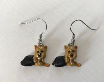 Brown & Black Terrier Dog Dangle Earrings