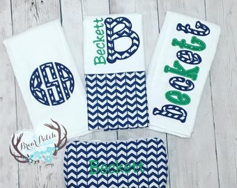 Personalized Baby Wipe Case and Burp Cloths, Navy and Green Baby Boy Gift Set, Broken Chevron, Monogrammed Baby Boy Shower Gift