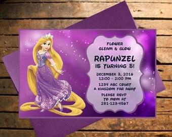 Downloadable Rapunzel Themed Birthday Invitation
