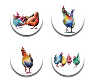 A pack of 4 Maria moss Artist pop art chickens design Pattern weights fabric weights No need for pins