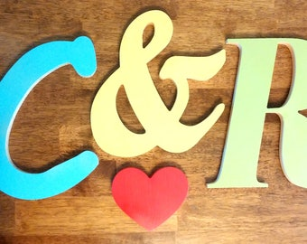 Wedding Letters, Guestbook, Wedding Letters, Wedding Package (Two wooden letters, Ampersand, and heart) Wedding/Anniversary/ Guestbook