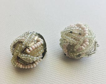Vintage Beaded Clip On Earrings