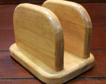 Napkin Holder - Wood Napkin Holder - Letter Holder - Standing Napkin Holder - Picnic Napkin Holder - Natural Wood Color Napkin Holder